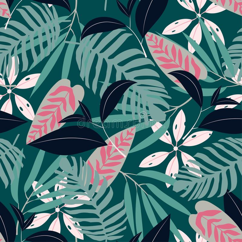 Seamless pattern with bright tropical plants on a dark background. Vector design. Jungle print. Printing and textiles. Seamless pattern with bright tropical royalty free illustration