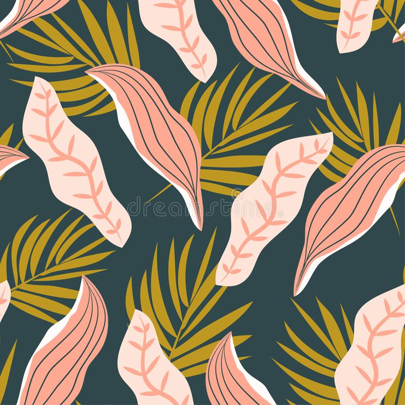 Seamless pattern with bright tropical plants on white background. Vector design. Flat jungle print. Floral background. Seamless pattern with bright tropical royalty free illustration