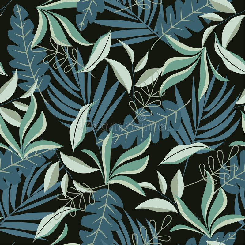 Seamless pattern with bright tropical plants on white background. Vector design. Flat jungle print. Floral background. Seamless pattern with bright tropical vector illustration