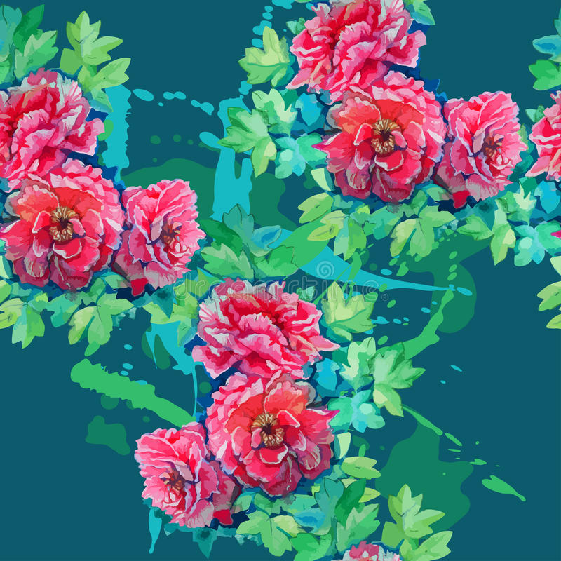 Seamless pattern of bright watercolor roses vector illustration
