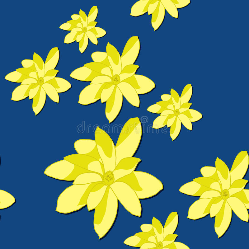 Seamless Pattern with Bright Yellow Magnolia Flowers on the Blue Background. vector illustration