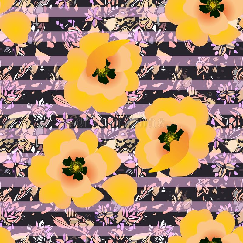 Seamless pattern with bright yellow poppy flowers on abstract striped ornament. Print for fabric vector illustration