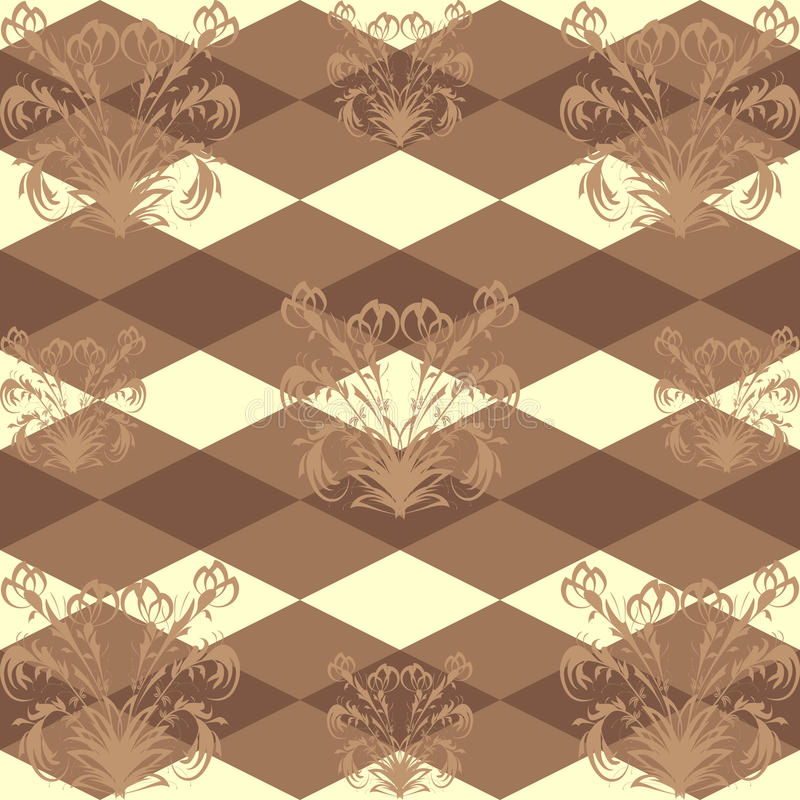 Seamless pattern with a brown floral pattern on dark brown background Rob stock photography