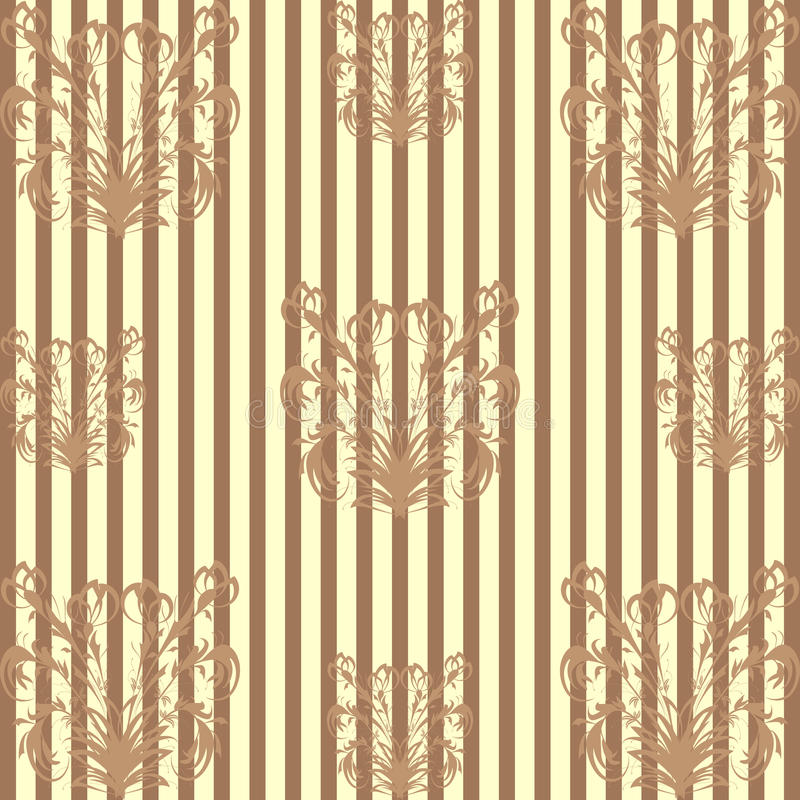 Seamless pattern with a brown floral pattern on dark brown striped background stock photo