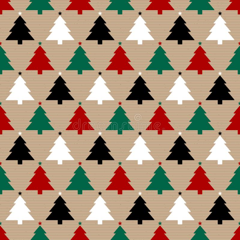 Seamless Pattern Brown Paper And Christmas Trees Red Green Black White royalty free illustration