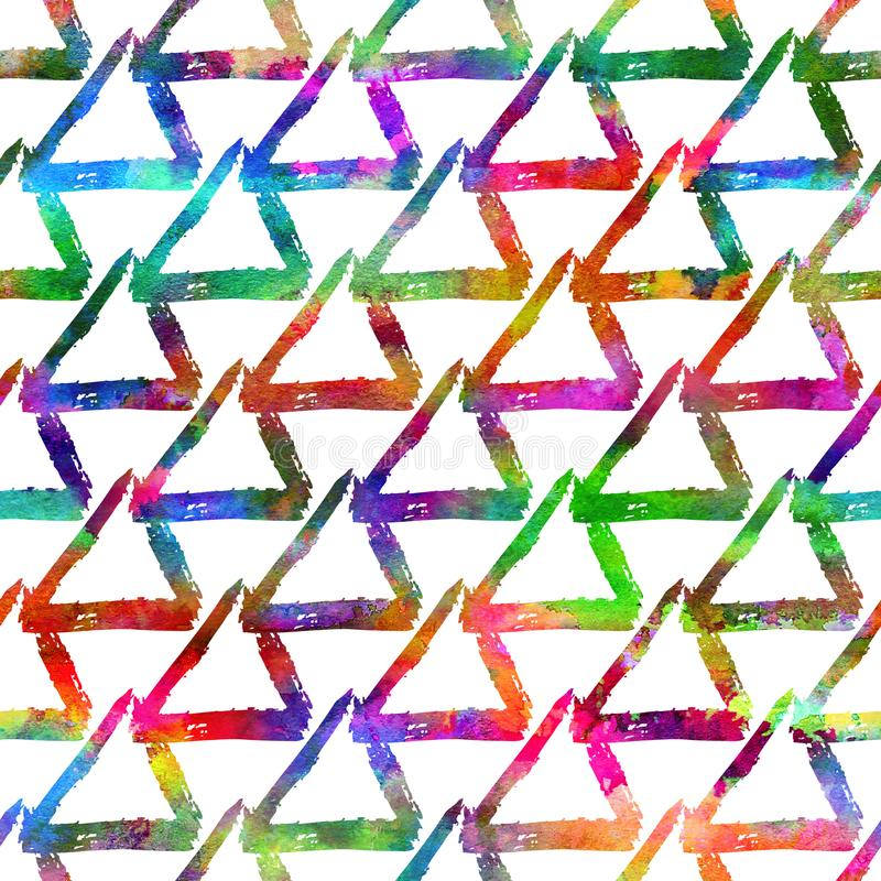 Seamless pattern brush colorful triangle. Rainbow color on white background. Hand painted grange texture. Ink geometric royalty free stock images