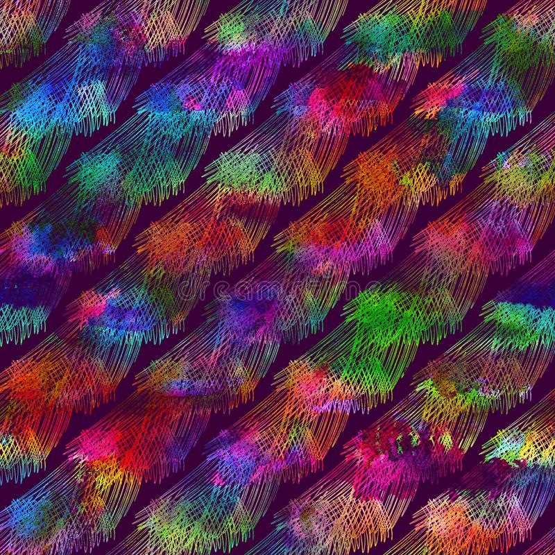 Seamless pattern with brush doodle and wave. Rainbow watercolor on violet background. Hand painted watercolour texture stock image