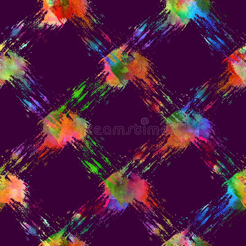 Seamless pattern with brush stripe plaid. Rainbow watercolor color on violet background. Drawing native grange texture. Ink geometric elements. Repeat fabric vector illustration