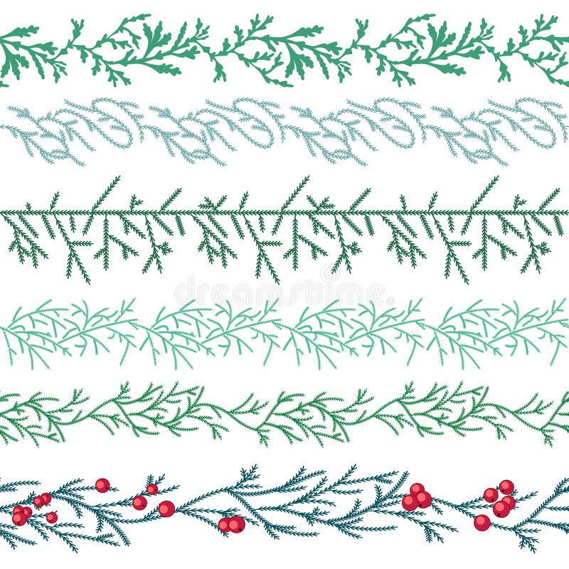 Seamless pattern brushes with Christmas fir branches royalty free illustration