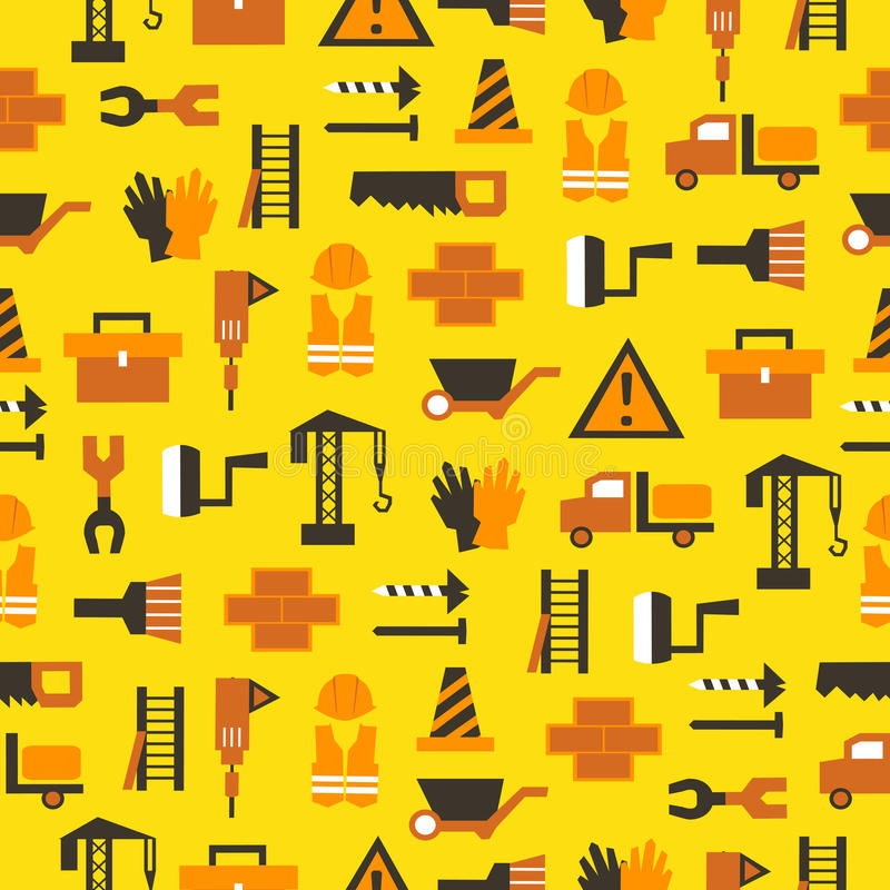 Seamless pattern with building equipment royalty free illustration