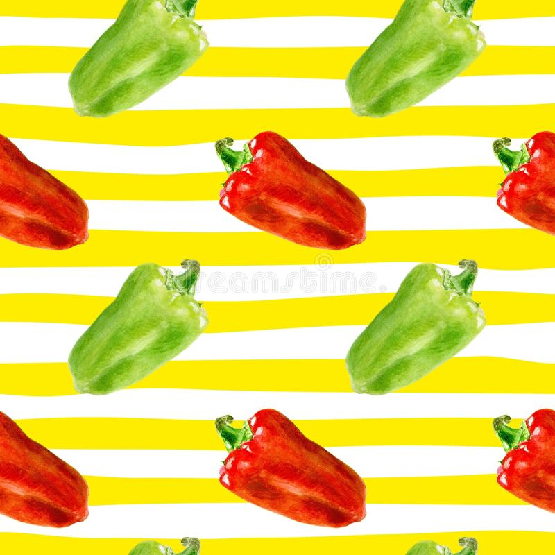 Seamless pattern with Bulgarian pepper. Watercolor bell papper on stripe background. royalty free stock image