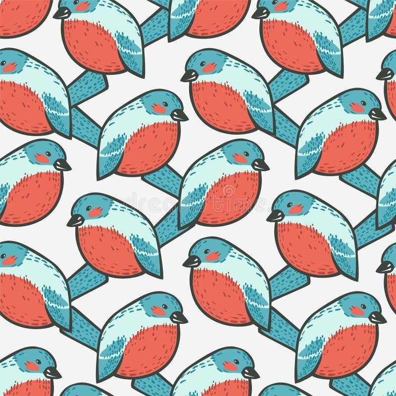 Seamless pattern - bullfinch bird. Seamless vector pattern - doodle bullfinch bird stock illustration