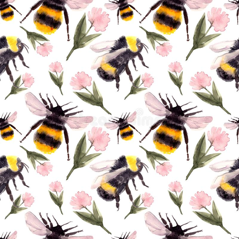 Seamless pattern with bumblebee stock illustration