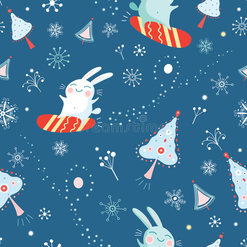 Seamless pattern of bunnies on snowboards royalty free illustration