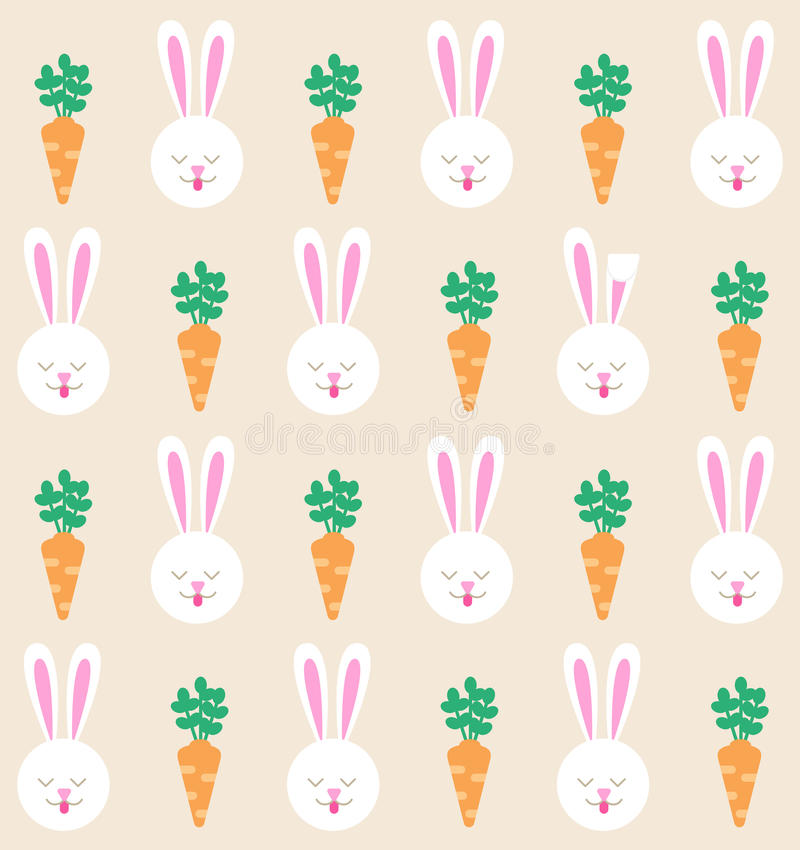 Seamless pattern with bunny and carrot. Rabbit pattern.  stock illustration