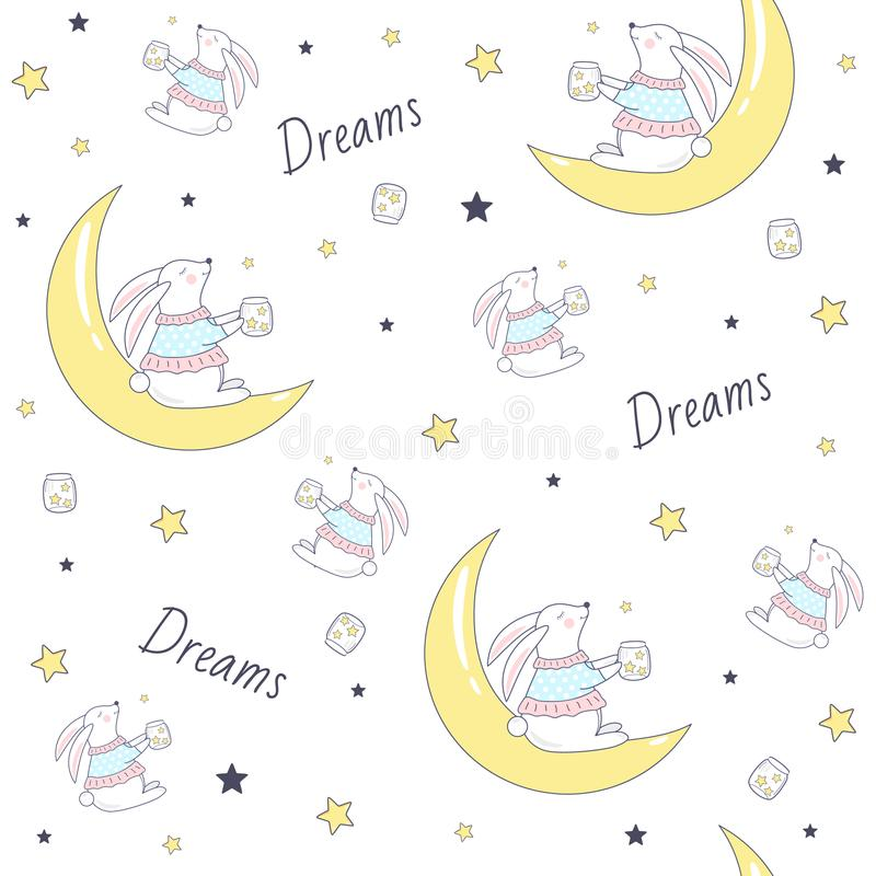 Seamless pattern with bunny on the moon. stock illustration
