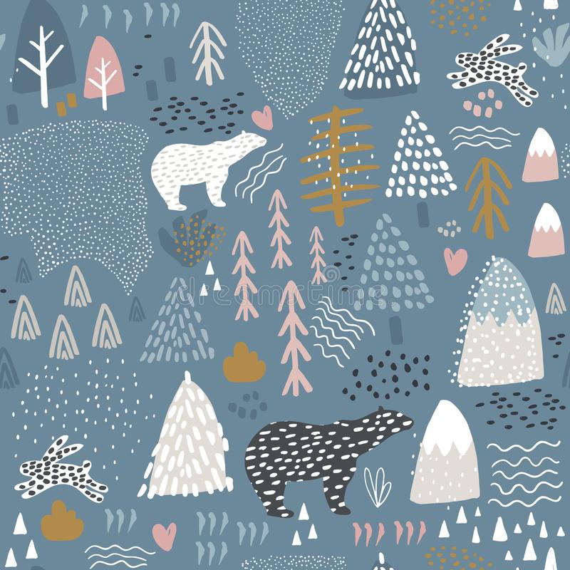 Seamless pattern with bunny,polar bear, forest elements and hand drawn shapes. Childish texture. Great for fabric, textile Vector. Illustration royalty free illustration