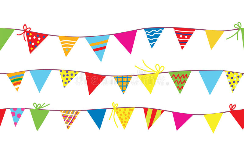 Seamless pattern with bunting flags vector illustration