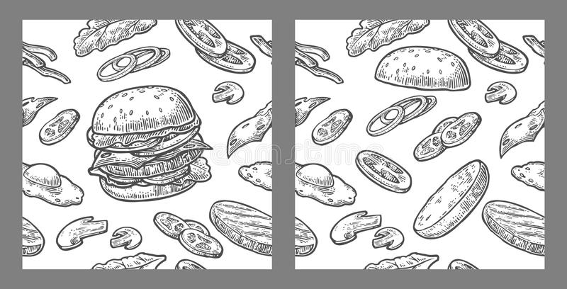 Seamless pattern burger include cutlet, tomato, cucumber and salad. vector illustration