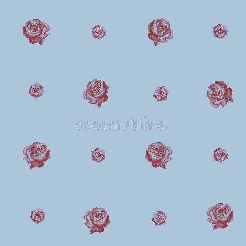 Seamless pattern of burgundy roses on a grey background. vector illustration