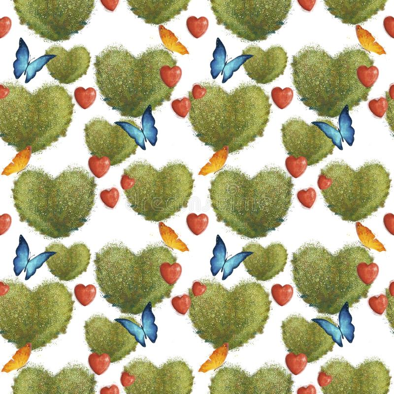 Seamless pattern with bushes in the form of hearts and butterflies. On a wight background. Valentines day royalty free illustration
