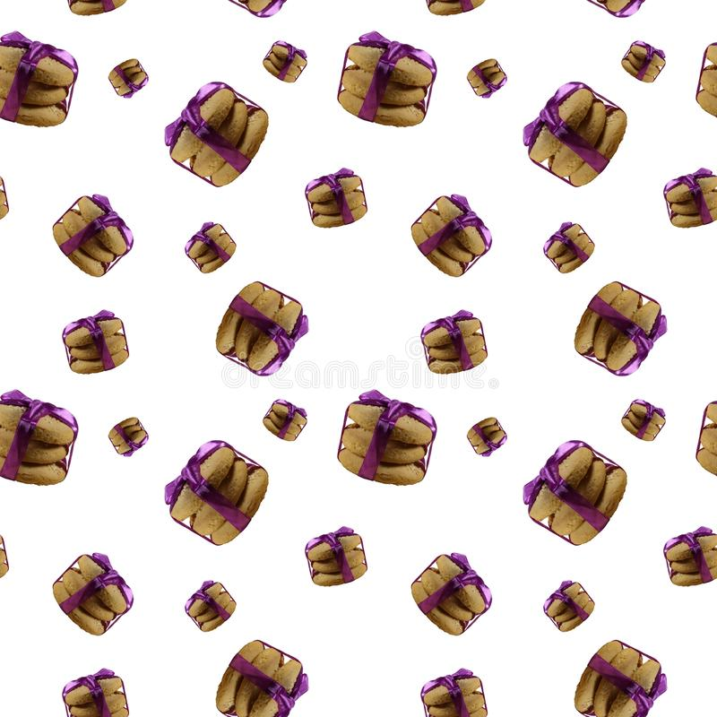Seamless pattern with butter cookies isolated on white background. Homemade shortbread cookie vector illustration