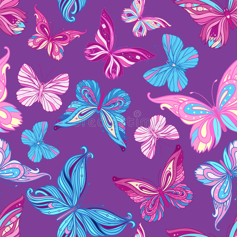 Seamless pattern with butterflies. In blue and pink vector illustration