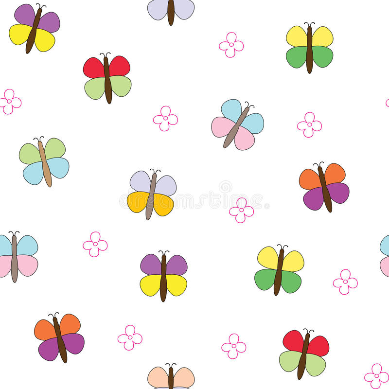 Seamless pattern with butterflies and flowers. stock illustration