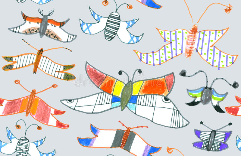 Seamless Pattern Of Butterflies And Moths. Hand-dr Stock Photos