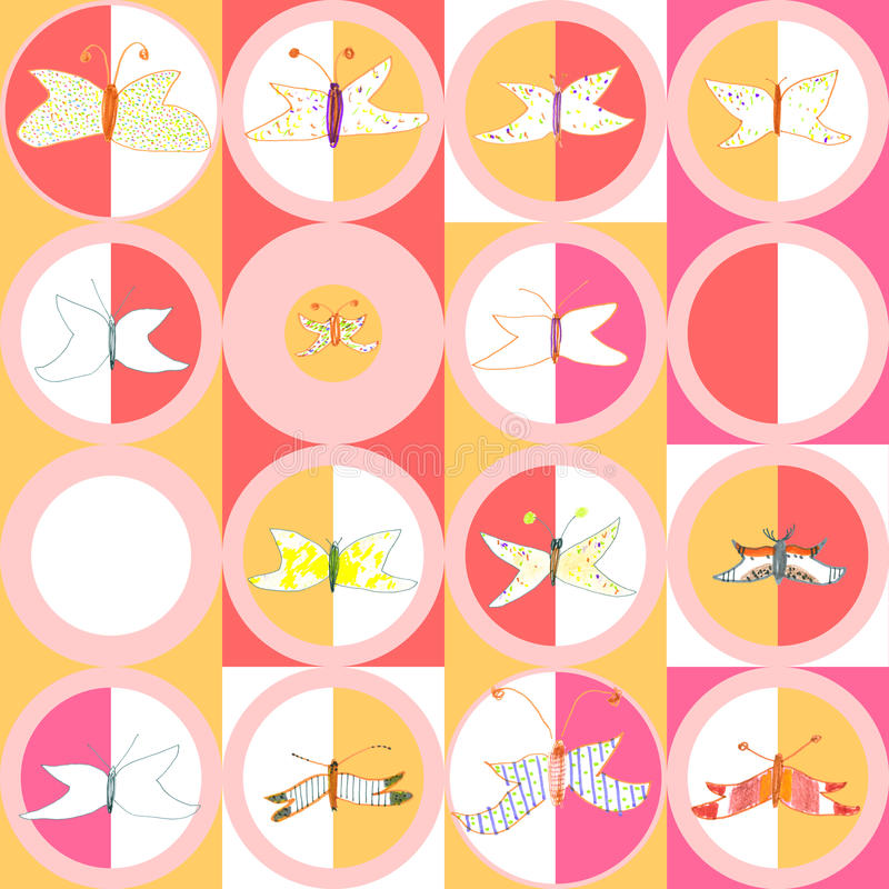 Download Seamless Pattern Of Butterflies And Moths. Hand-dr Stock Vector - Illustration: 32664302