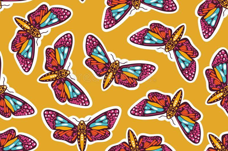 Seamless pattern with butterflies moths. Mexican Day of the Dead. stock illustration