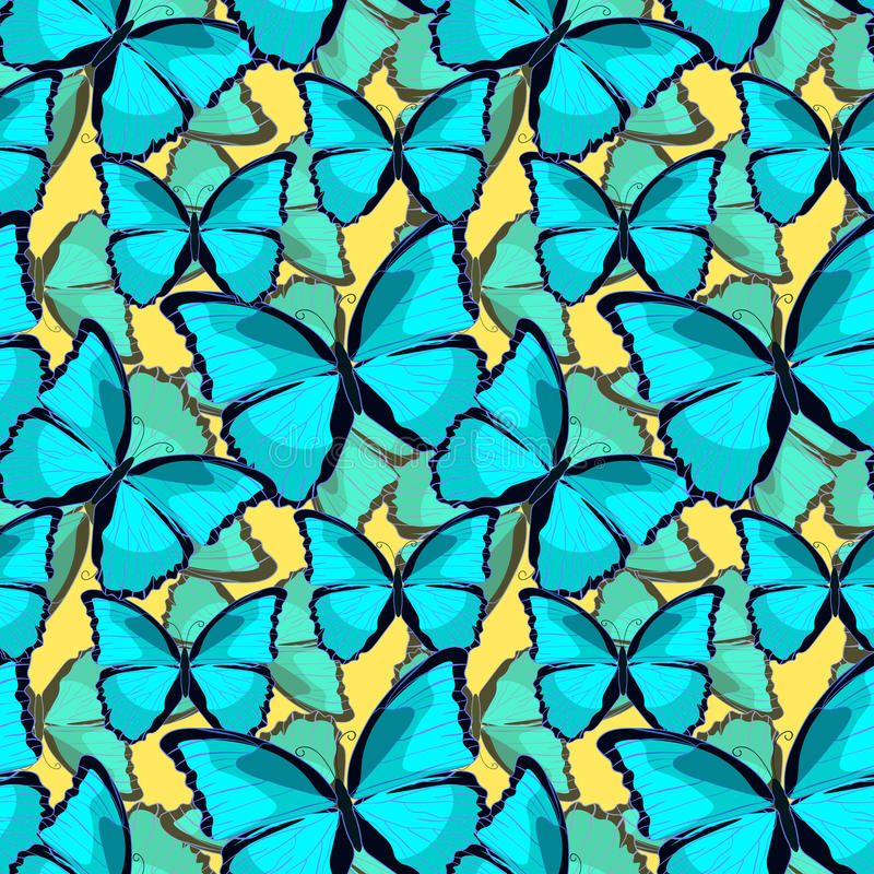 Seamless pattern the butterfly blue morpho monarch vector illustration. Seamless pattern the butterfly blue morpho monarch on yellow. vector illustration vector illustration