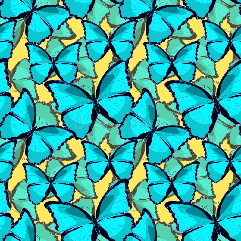 Seamless pattern the butterfly blue morpho monarch vector illustration. Seamless pattern the butterfly blue morpho monarch on yellow. vector illustration vector illustration