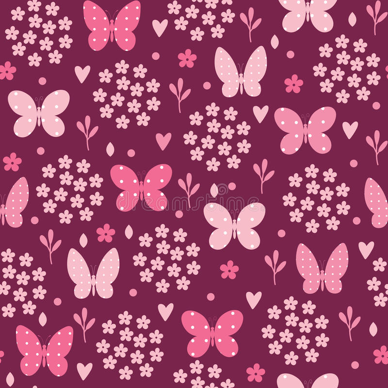 Seamless pattern with butterfly, flowers and hearts. Vector illustration. Seamless pattern with butterfly, flowers and hearts. Vector texture stock illustration