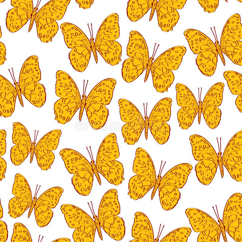 Seamless pattern with butterfly orange mustard yellow sketch, brown contour isolated on white background. simple art. Can be used stock illustration