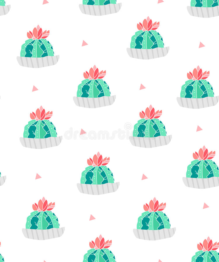 Seamless pattern with cacti in a flowerpots and pink triangles on white background. Ornament for textile and wrapping. Vector royalty free illustration