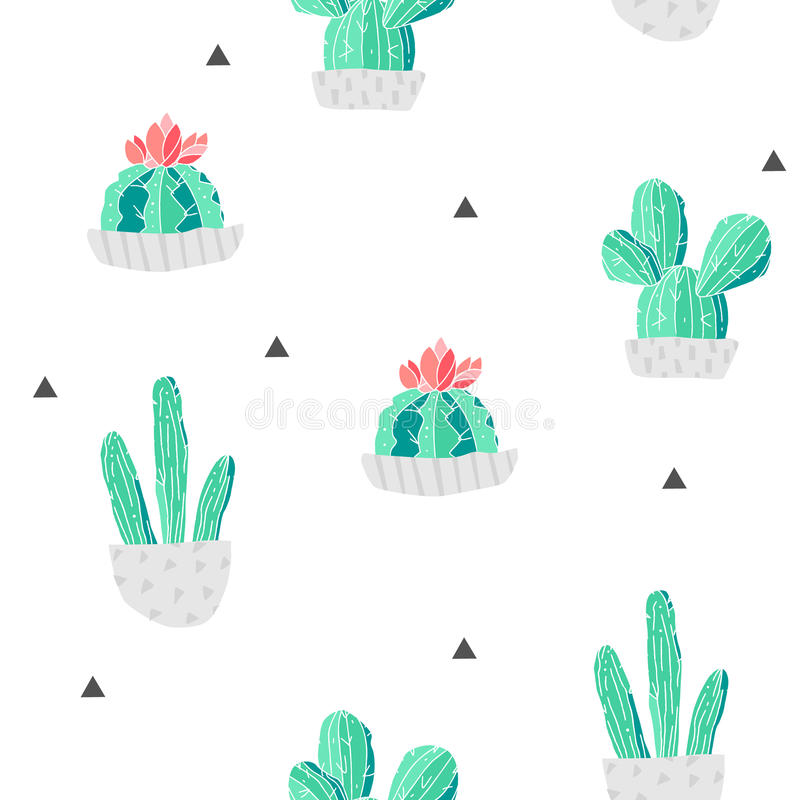 Seamless pattern with cacti in a flowerpots and triangles on white background. Vector vector illustration