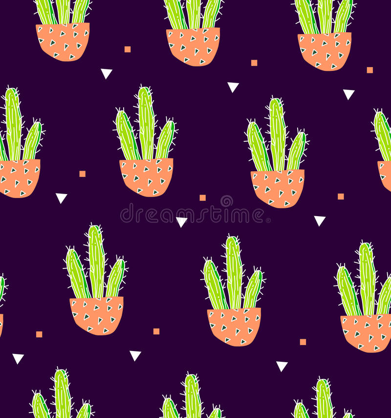Seamless pattern with cactus in a flowerpot and geometric shape on black background. Succulent in doodle style. Ornament for texti. Le and wrapping royalty free illustration