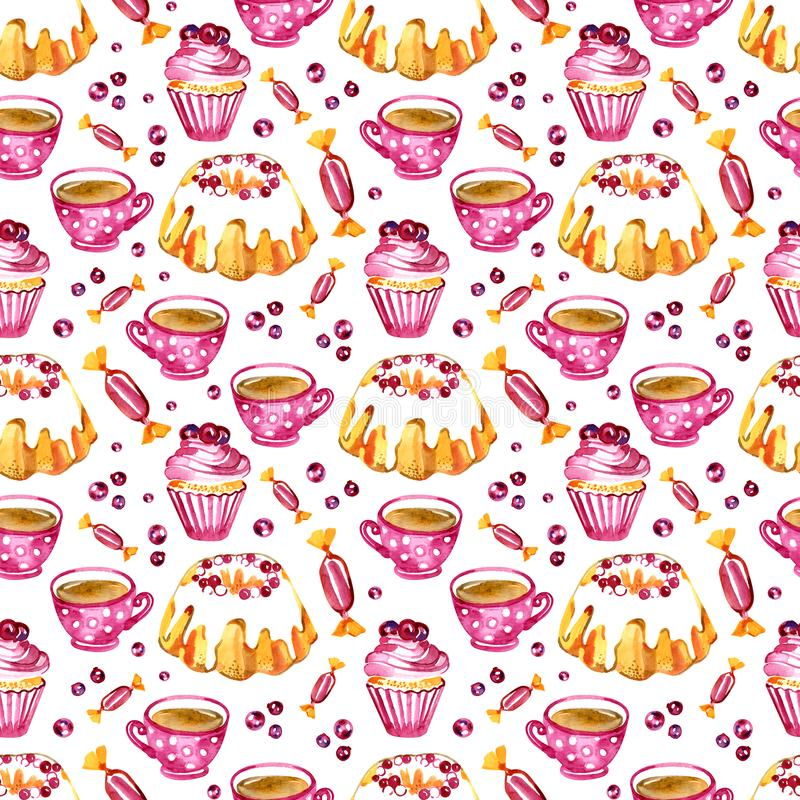Seamless pattern of a cake, cupcake and cranberry. Picture of a dessert.Watercolor hand drawn illustration.White royalty free illustration