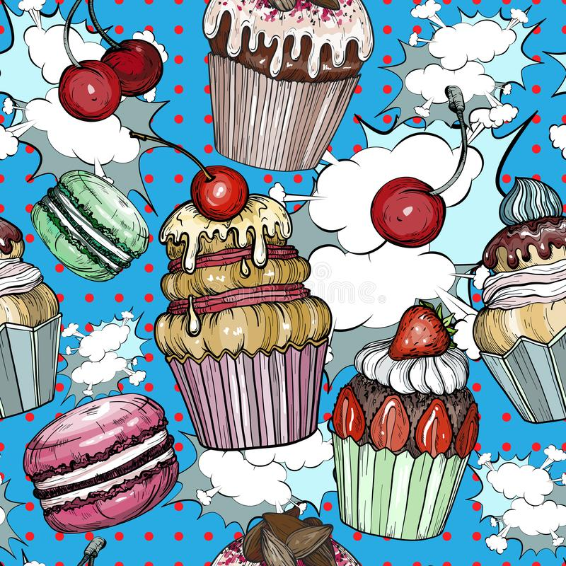 Seamless pattern with Cakes and cupcakes baked chocolate dessert, bakery colorful pop art. Vector illustration stock illustration