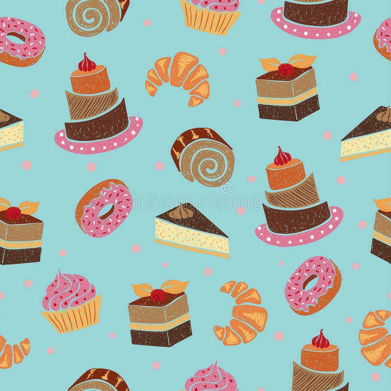 Seamless pattern with cakes and desserts. Sweets vector background royalty free illustration
