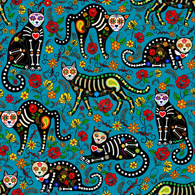 Calavera cats. Seamless pattern with calavera sugar skull black cats in mexican style for holiday the Day of the Dead, Dia de Muertos stock illustration