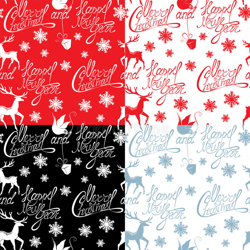 Seamless Pattern With Calligraphic Text Merry Christmas Stock Vector