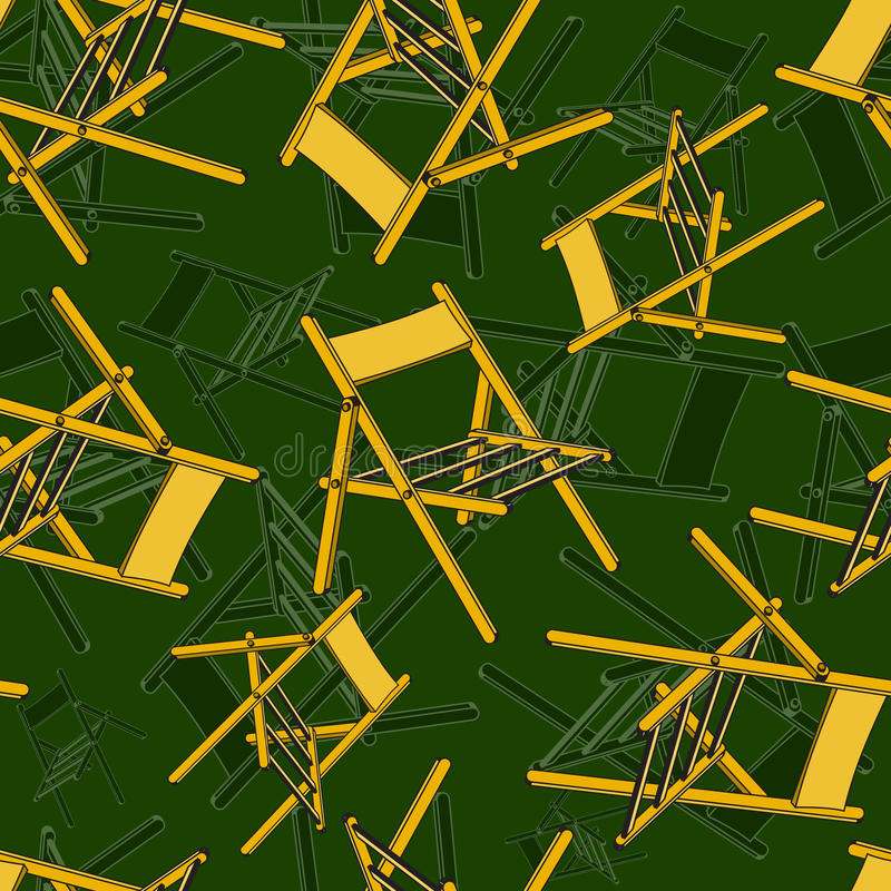 Seamless pattern with camp chairs royalty free stock photography