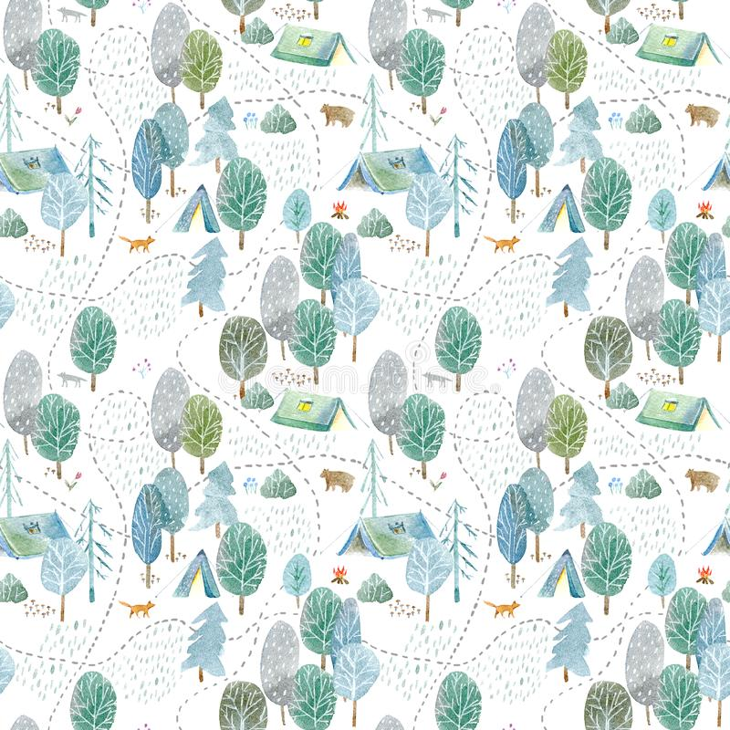 Seamless pattern of a camping,road,fox,wolf,bear in the woods. stock illustration