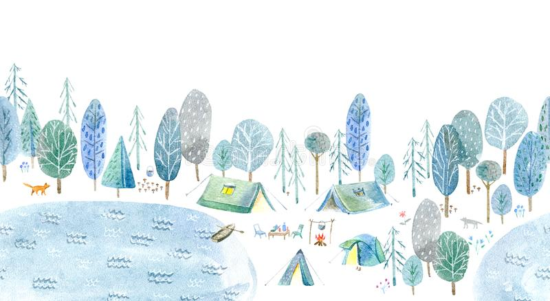 Seamless pattern of a camping in the woods and lake. royalty free illustration