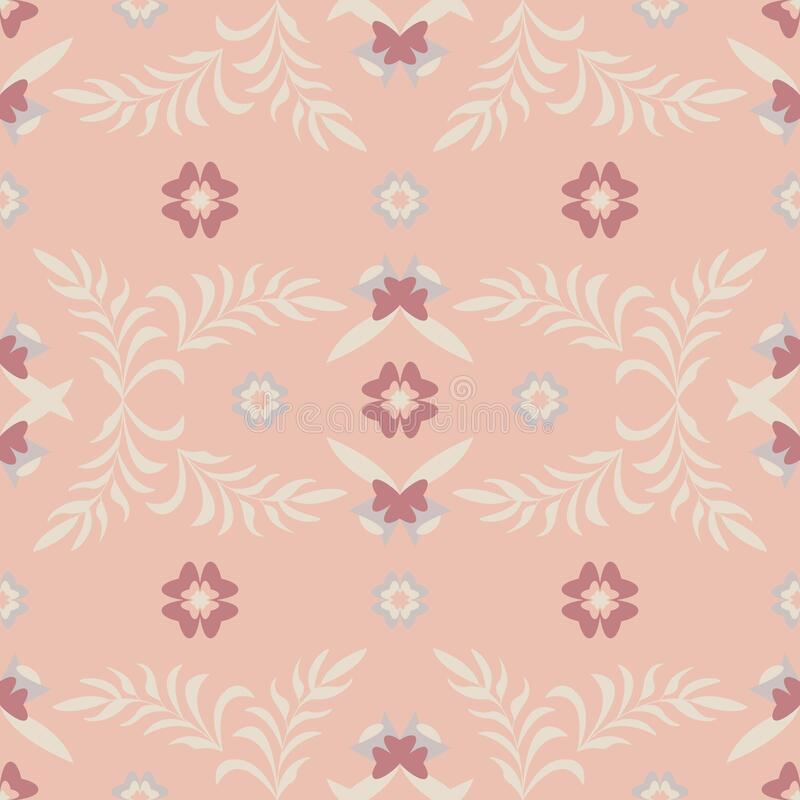 Seamless pattern flower and leaf. Color orange. Pastel colors. Vector. stock photo