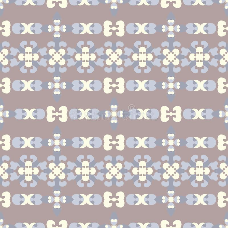 Seamless pattern retro, vintage. Chocolate color, blue and pale yellow. Pastel colors. Vector. stock photo
