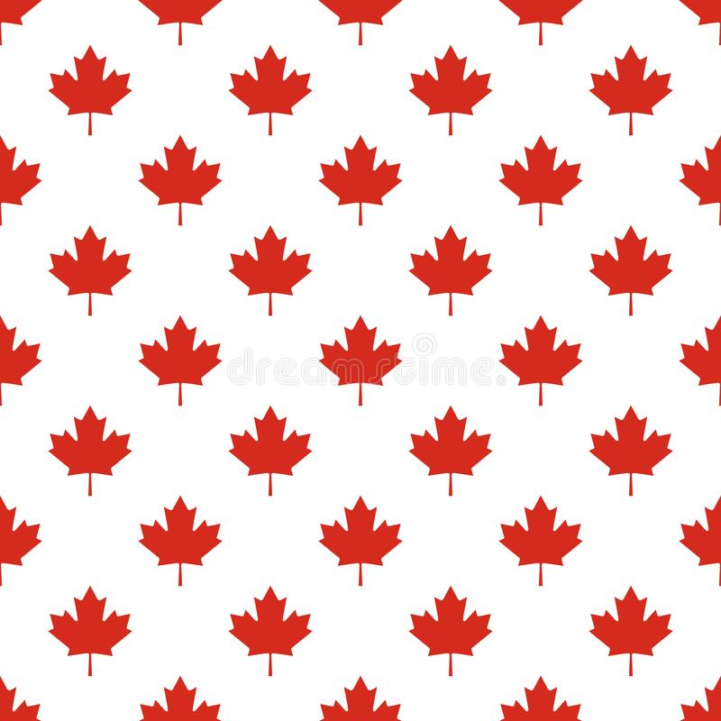Seamless pattern of Canada country flag symbol maple leaf. stock illustration