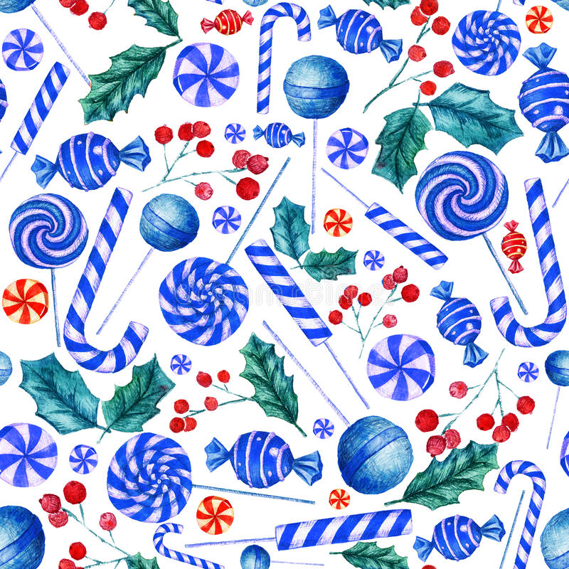 Seamless pattern with candies. Christmas background. Watercolor illustration with candies vector illustration